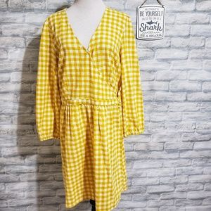 Old Navy yellow gingham wrap dress